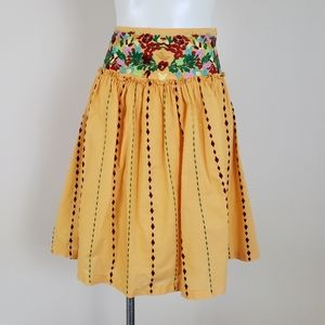 Anthropologie Odille Mariachi Embroidered Skirt